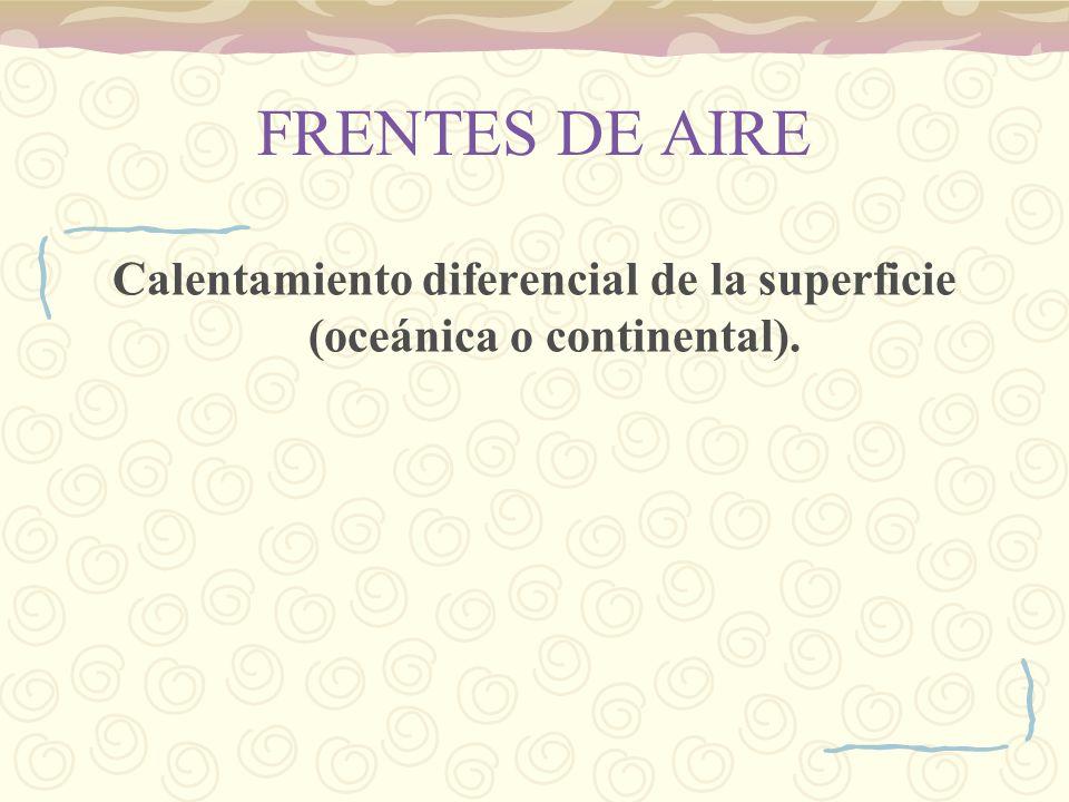 FRENTES DE AIRE Calentamiento diferencial de la superficie (oceánica o continental).