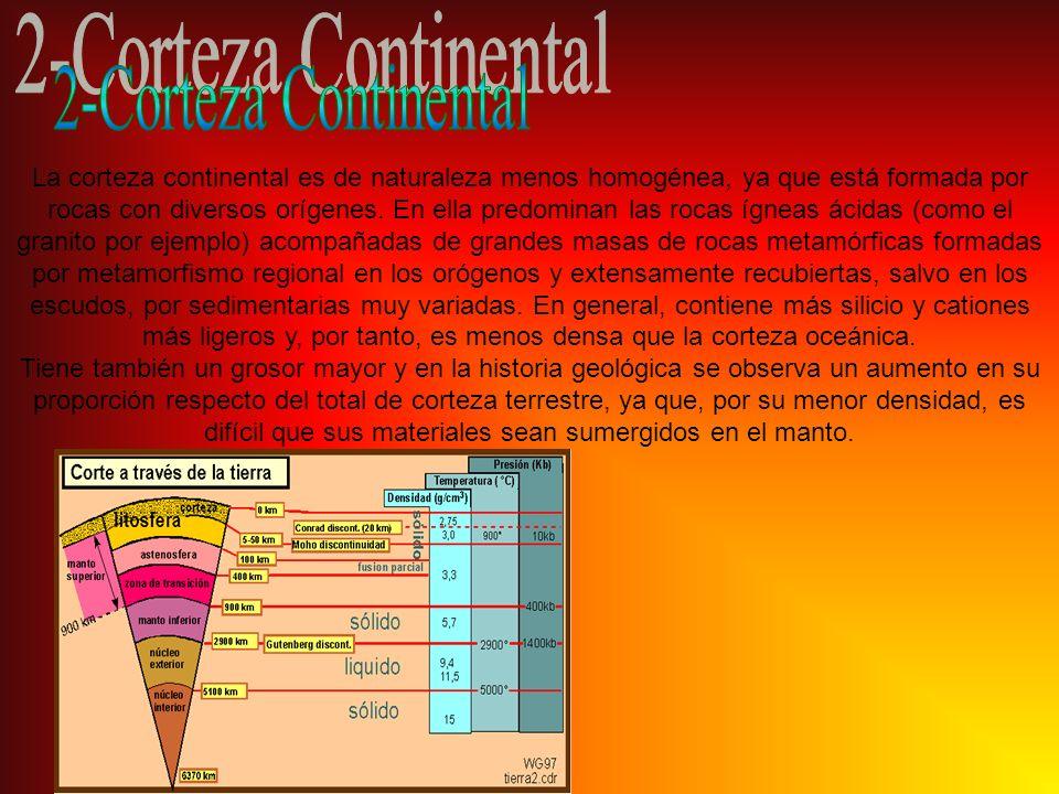 La corteza continental es de naturaleza menos homogénea, ya que está formada por rocas con diversos orígenes. En ella predominan las rocas ígneas ácid