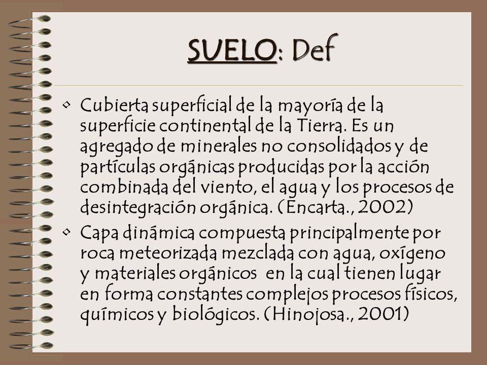 SUELO: Def Cubierta superficial de la mayoría de la superficie continental de la Tierra.