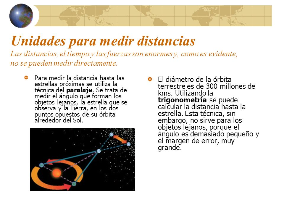 Unidades para medir distancias Las distancias, el tiempo y las fuerzas son enormes y, como es evidente, no se pueden medir directamente. Para medir la