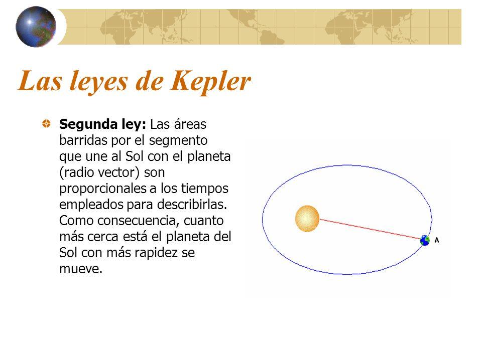 Las leyes de Kepler Segunda ley: Las áreas barridas por el segmento que une al Sol con el planeta (radio vector) son proporcionales a los tiempos empl