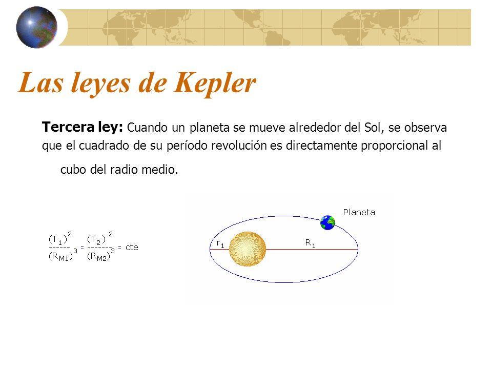 Las leyes de Kepler Tercera ley: Cuando un planeta se mueve alrededor del Sol, se observa que el cuadrado de su período revolución es directamente pro