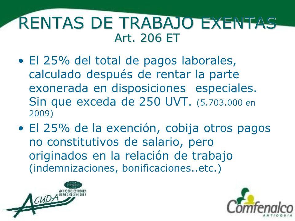 RENTAS DE TRABAJO EXENTAS Art. 206 ET El 25% del total de pagos laborales, calculado después de rentar la parte exonerada en disposiciones especiales.