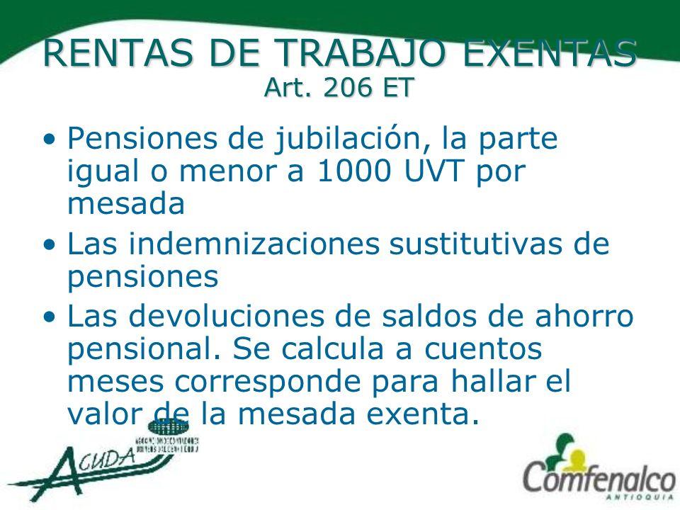 RENTAS DE TRABAJO EXENTAS Art. 206 ET Pensiones de jubilación, la parte igual o menor a 1000 UVT por mesada Las indemnizaciones sustitutivas de pensio