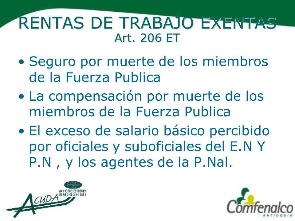 OTRAS RENTAS EXENTAS.ART 207-2 5.El servicio de ecoturismo certificado por Min.-ambiente.