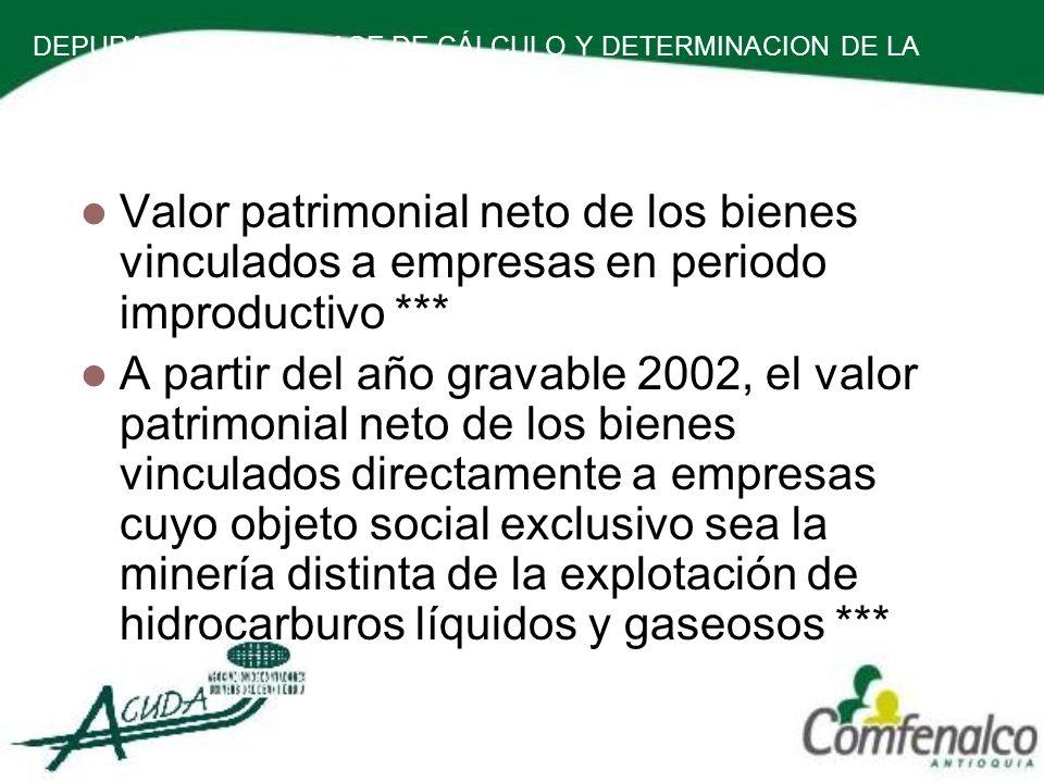 DEPURACION DE LA BASE DE CÁLCULO Y DETERMINACION DE LA RENTA PRESUNTIVA. Valor patrimonial neto de los bienes vinculados a empresas en periodo improdu