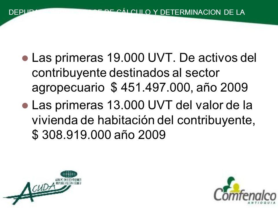 DEPURACION DE LA BASE DE CÁLCULO Y DETERMINACION DE LA RENTA PRESUNTIVA. Las primeras 19.000 UVT. De activos del contribuyente destinados al sector ag