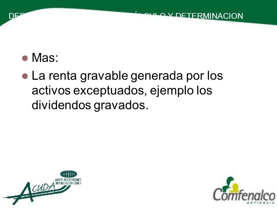 DEPURACION DE LA BASE DE CÁLCULO Y DETERMINACION DE LA RENTA PRESUNTIVA Mas: La renta gravable generada por los activos exceptuados, ejemplo los divid