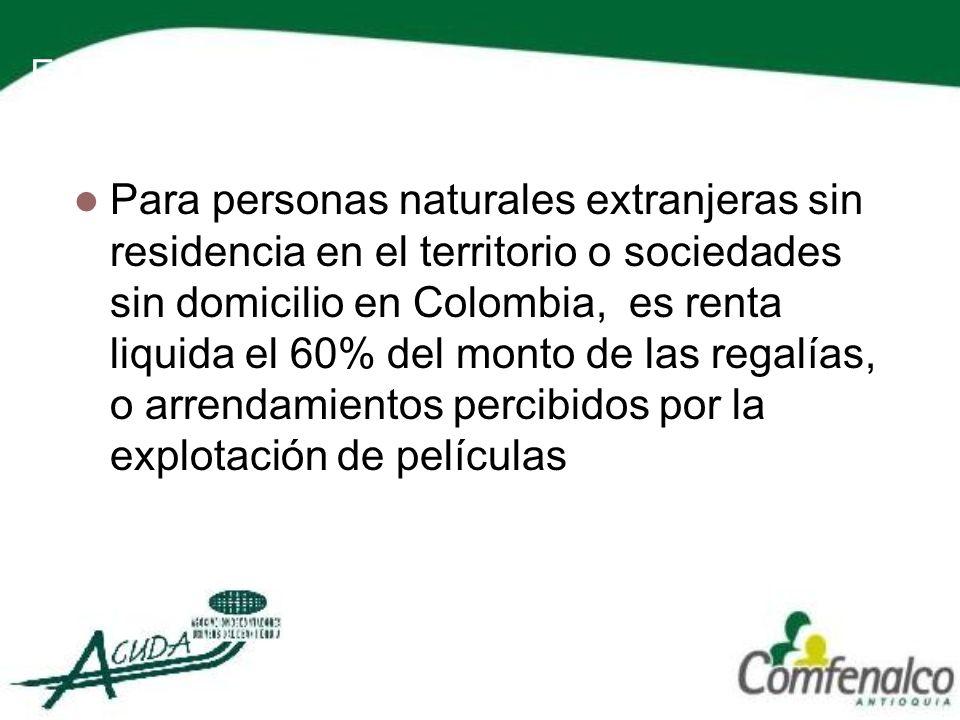 EXPLOTACIÓN DE PELICULAS Para personas naturales extranjeras sin residencia en el territorio o sociedades sin domicilio en Colombia, es renta liquida
