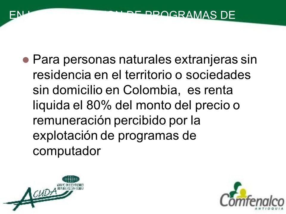 EN LA EXPLOTACION DE PROGRAMAS DE COMPUTADOR Para personas naturales extranjeras sin residencia en el territorio o sociedades sin domicilio en Colombi