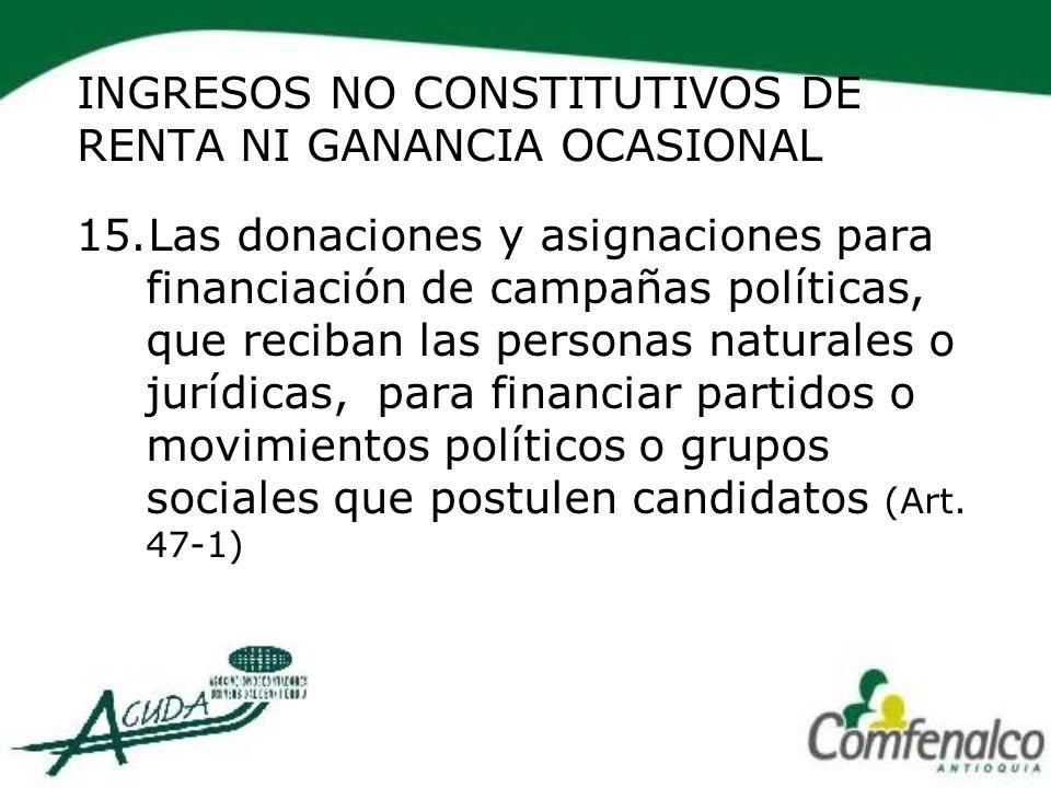 INGRESOS NO CONSTITUTIVOS DE RENTA NI GANANCIA OCASIONAL 15.Las donaciones y asignaciones para financiación de campañas políticas, que reciban las per