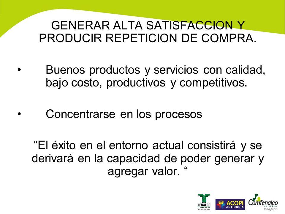 GENERAR ALTA SATISFACCION Y PRODUCIR REPETICION DE COMPRA.
