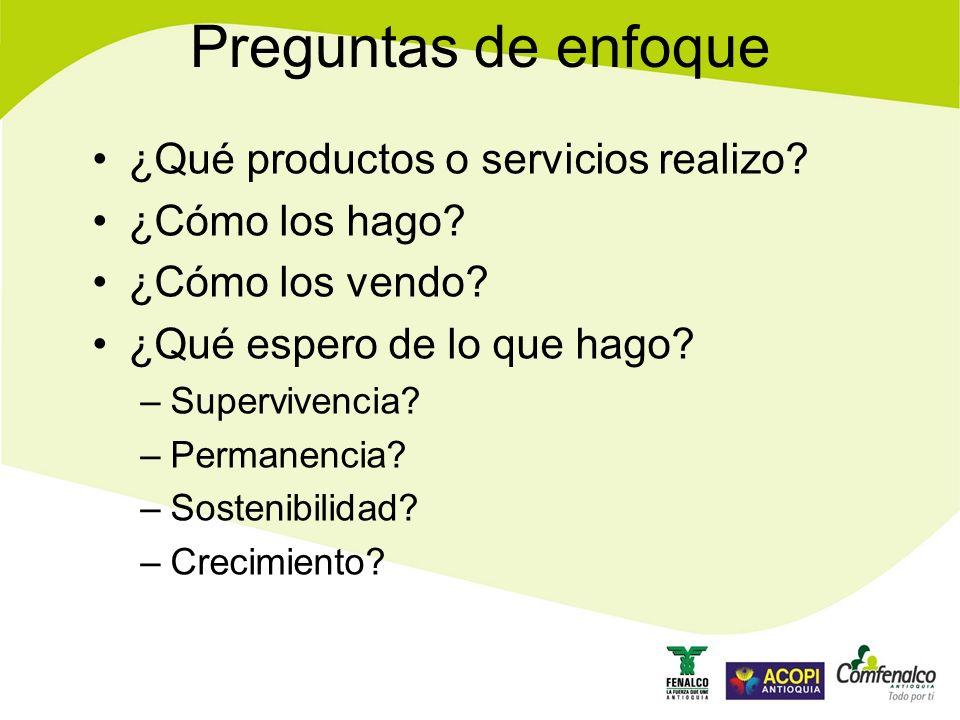 Preguntas de enfoque ¿Qué productos o servicios realizo.