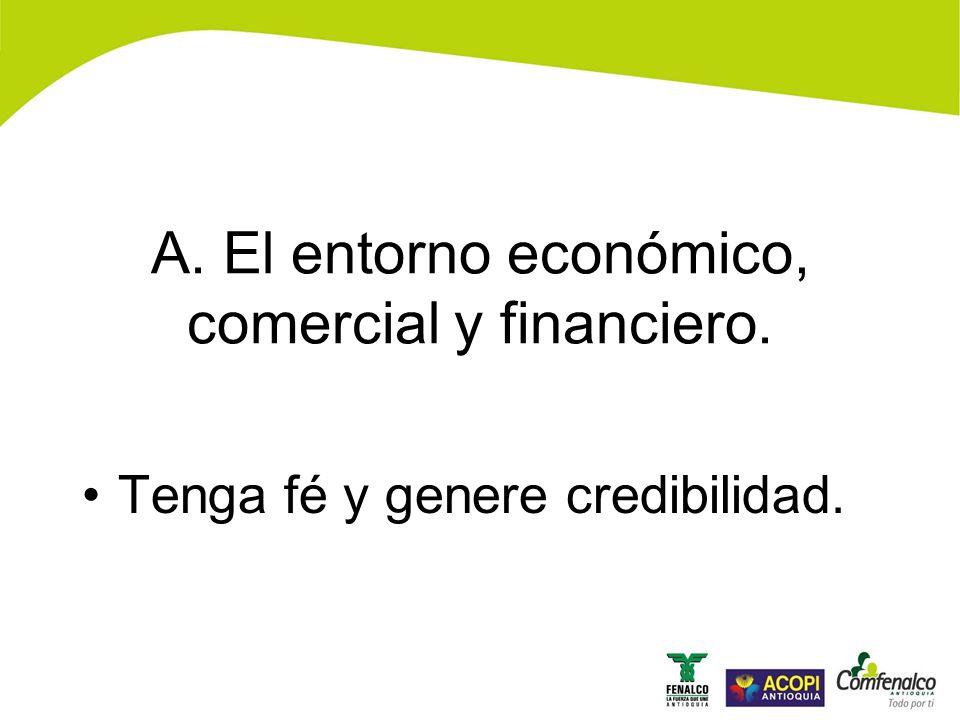 Tenga fé y genere credibilidad. A. El entorno económico, comercial y financiero.