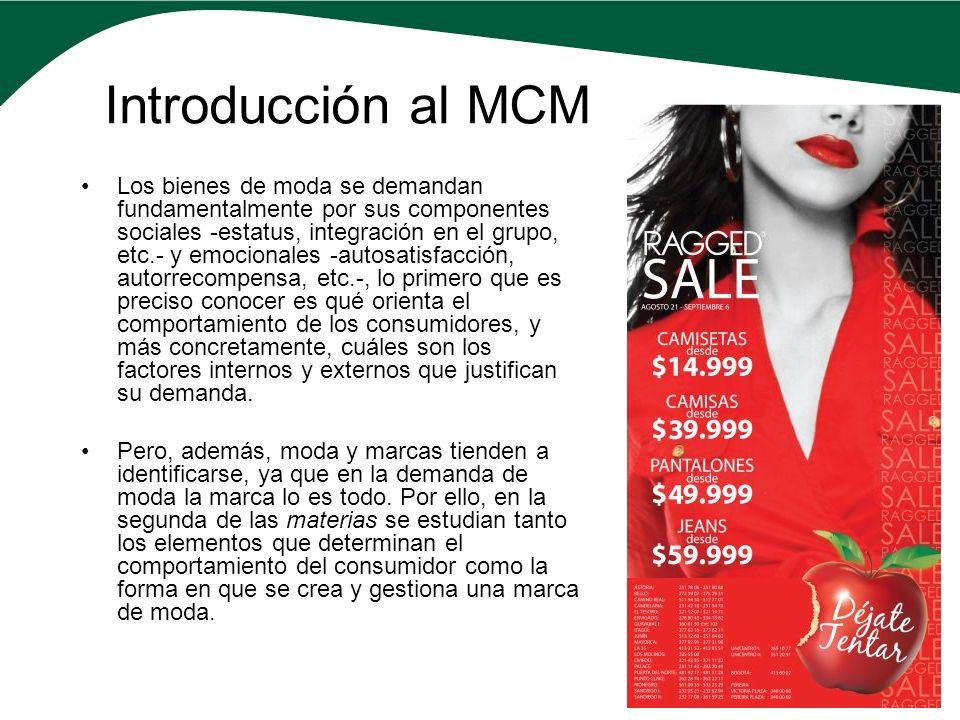 Introducción al MCM Los bienes de moda se demandan fundamentalmente por sus componentes sociales -estatus, integración en el grupo, etc.- y emocionale