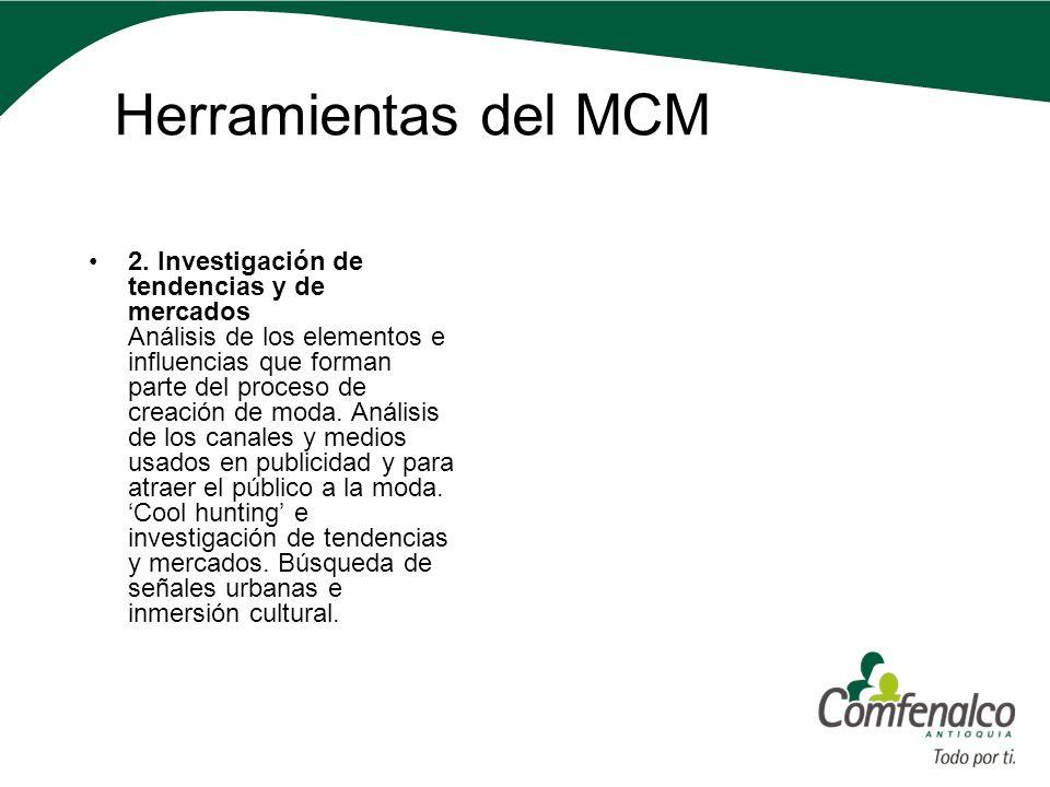 Herramientas del MCM 2. Investigación de tendencias y de mercados Análisis de los elementos e influencias que forman parte del proceso de creación de