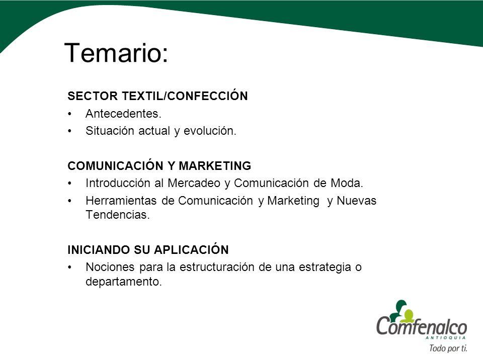 Temario: SECTOR TEXTIL/CONFECCIÓN Antecedentes. Situación actual y evolución. COMUNICACIÓN Y MARKETING Introducción al Mercadeo y Comunicación de Moda
