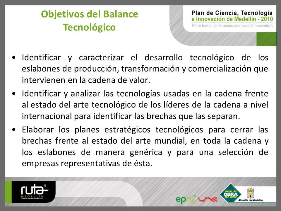 Identificar y caracterizar el desarrollo tecnológico de los eslabones de producción, transformación y comercialización que intervienen en la cadena de