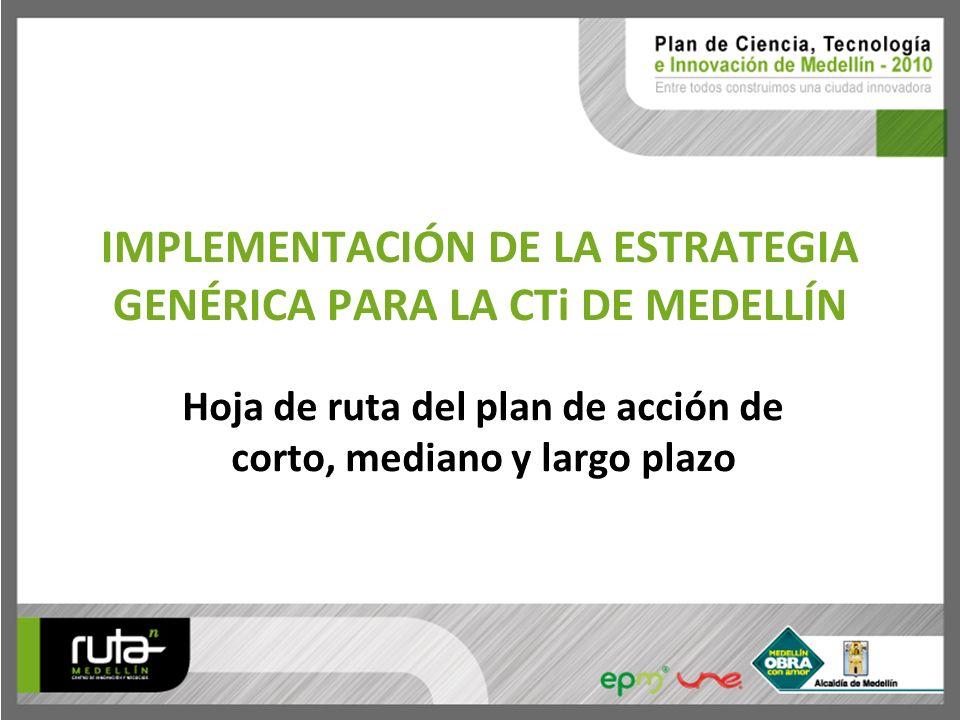 IMPLEMENTACIÓN DE LA ESTRATEGIA GENÉRICA PARA LA CTi DE MEDELLÍN Hoja de ruta del plan de acción de corto, mediano y largo plazo