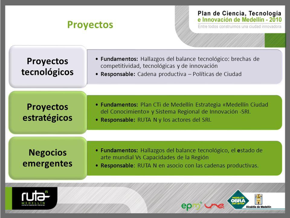 Proyectos Fundamentos: Hallazgos del balance tecnológico: brechas de competitividad, tecnológicas y de innovación Responsable: Cadena productiva – Pol