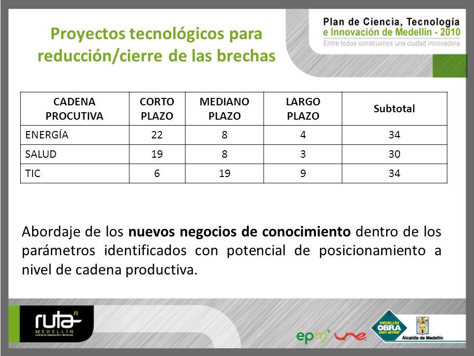 Proyectos tecnológicos para reducción/cierre de las brechas CADENA PROCUTIVA CORTO PLAZO MEDIANO PLAZO LARGO PLAZO Subtotal ENERGÍA228434 SALUD198330
