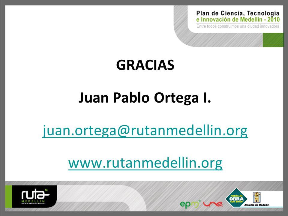 GRACIAS Juan Pablo Ortega I. juan.ortega@rutanmedellin.org www.rutanmedellin.org