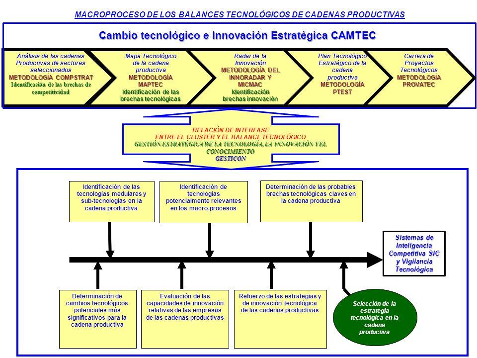 Análisis de las cadenas Productivas de sectores seleccionados METODOLOGÍA COMPSTRAT Identificación de las brechas de competitividad Mapa Tecnológico M