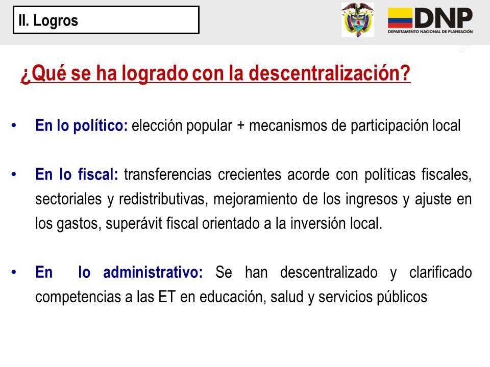 ¿Qué se ha logrado con la descentralización? En lo político: elección popular + mecanismos de participación local En lo fiscal: transferencias crecien