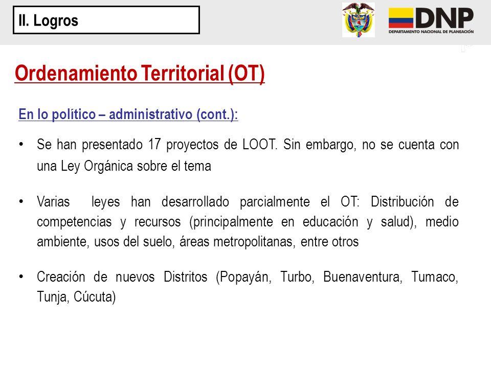 En lo político – administrativo (cont.): Se han presentado 17 proyectos de LOOT. Sin embargo, no se cuenta con una Ley Orgánica sobre el tema Varias l