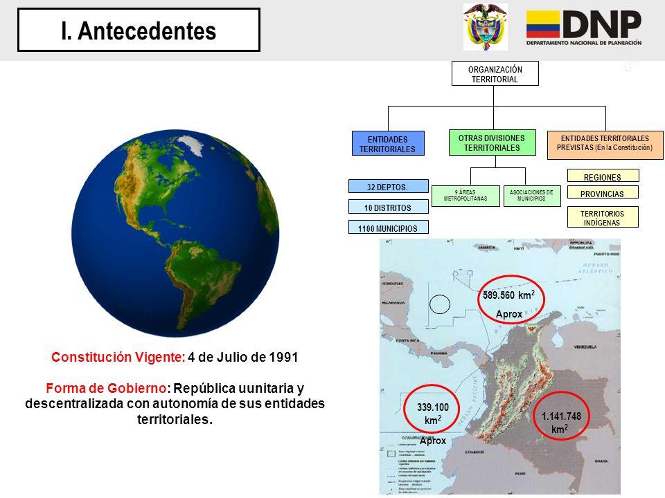 1.141.748 km 2 339.100 km 2 Aprox 589.560 km 2 Aprox Constitución Vigente: 4 de Julio de 1991 Forma de Gobierno: República uunitaria y descentralizada