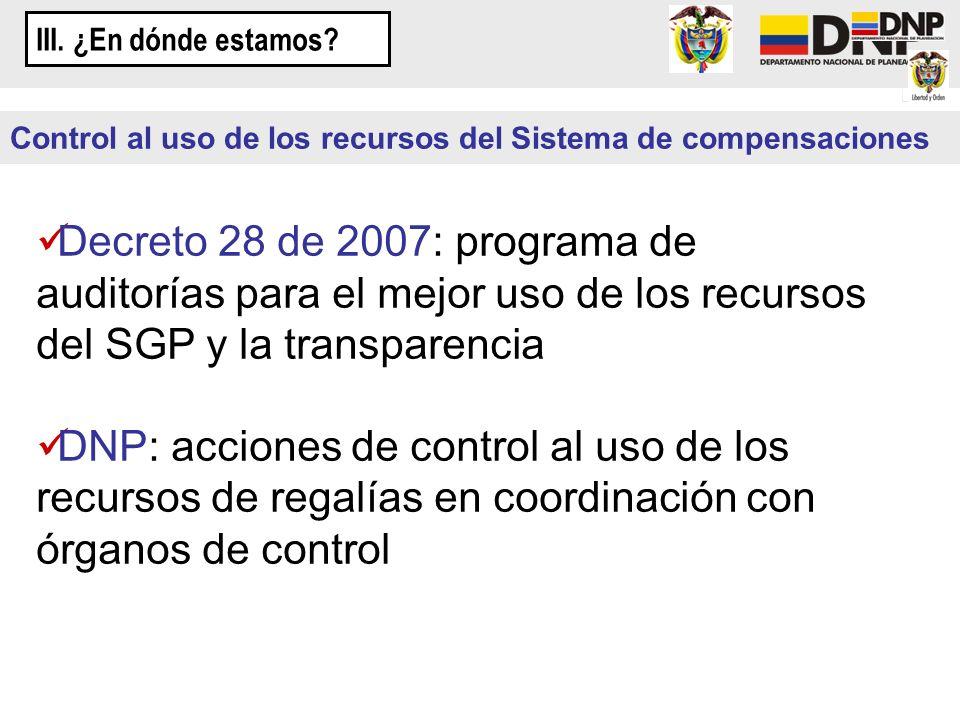 Decreto 28 de 2007: programa de auditorías para el mejor uso de los recursos del SGP y la transparencia DNP: acciones de control al uso de los recurso