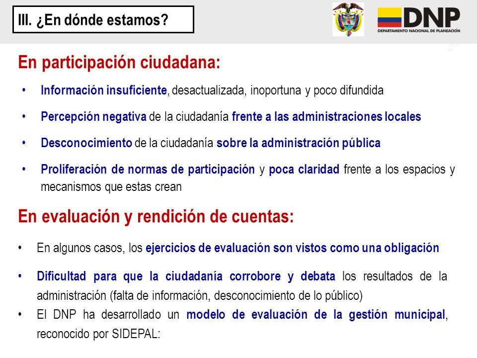En participación ciudadana: Información insuficiente, desactualizada, inoportuna y poco difundida Percepción negativa de la ciudadanía frente a las ad