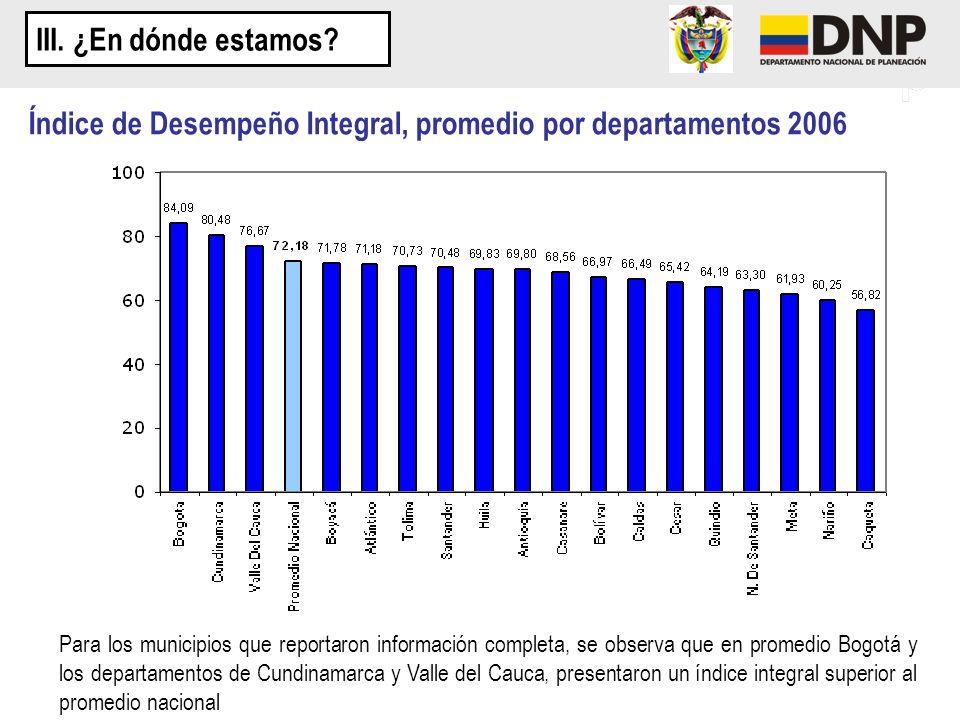 Índice de Desempeño Integral, promedio por departamentos 2006 Para los municipios que reportaron información completa, se observa que en promedio Bogo