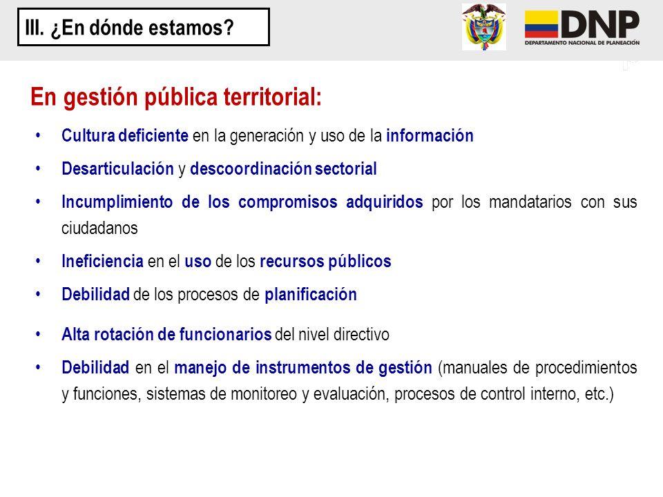 En gestión pública territorial: Cultura deficiente en la generación y uso de la información Desarticulación y descoordinación sectorial Incumplimiento