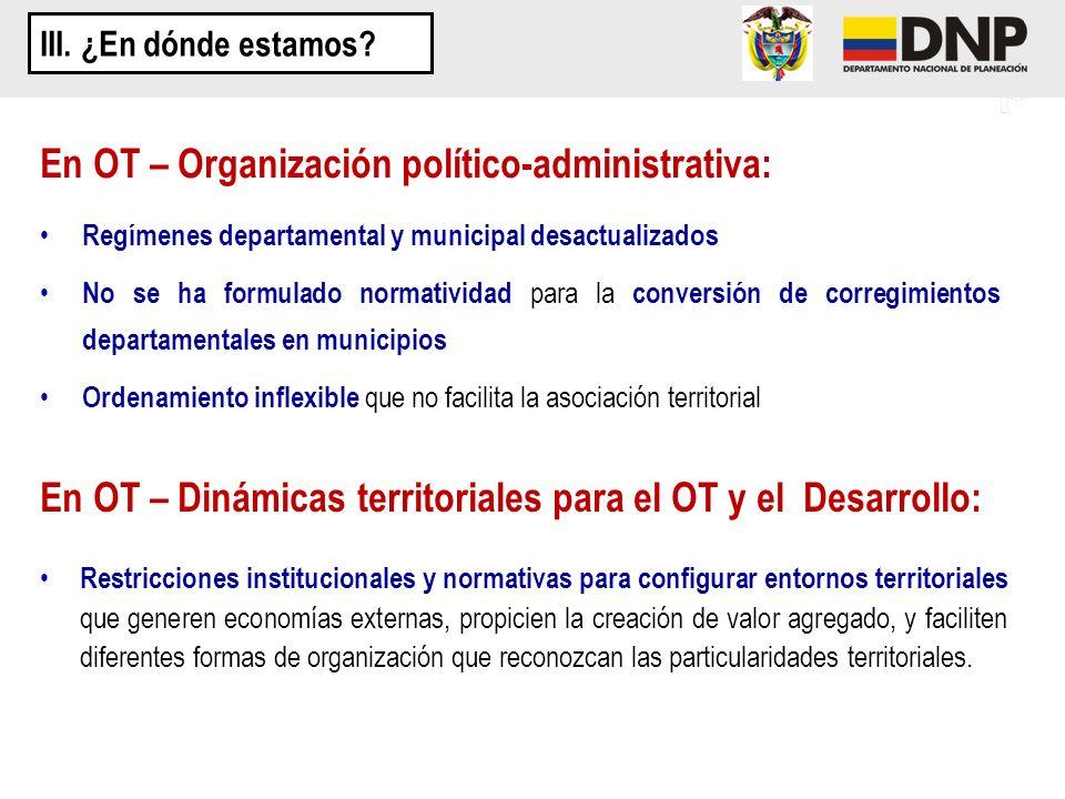 En OT – Organización político-administrativa: Regímenes departamental y municipal desactualizados No se ha formulado normatividad para la conversión d