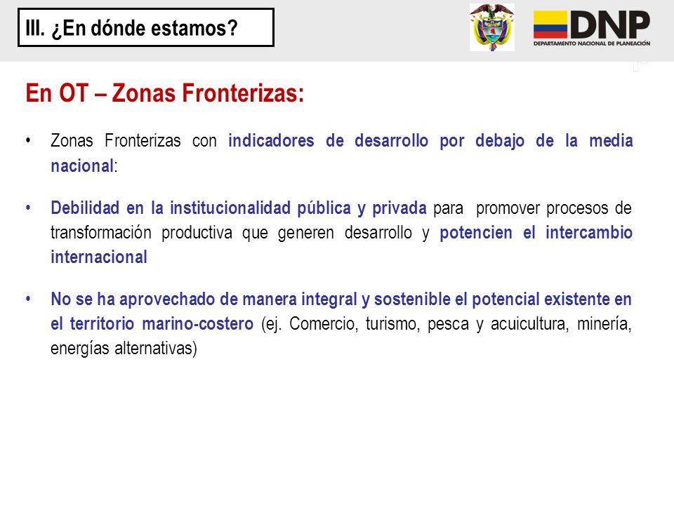 Zonas Fronterizas con indicadores de desarrollo por debajo de la media nacional : Debilidad en la institucionalidad pública y privada para promover pr