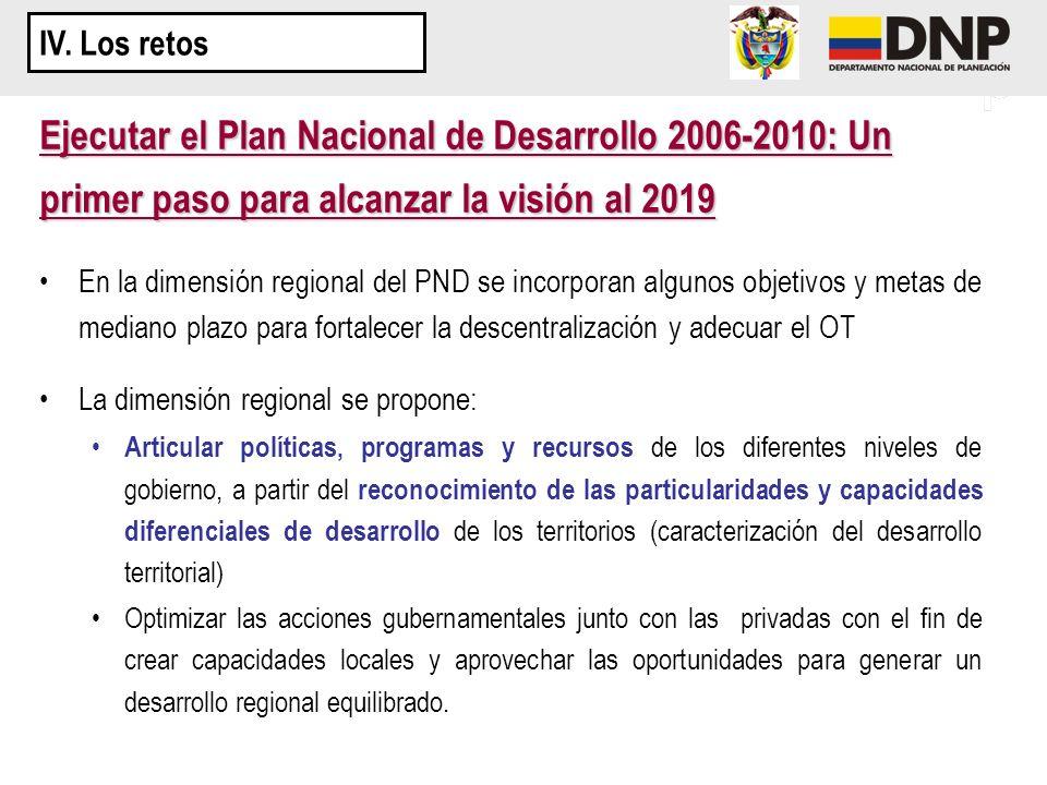 En la dimensión regional del PND se incorporan algunos objetivos y metas de mediano plazo para fortalecer la descentralización y adecuar el OT La dime