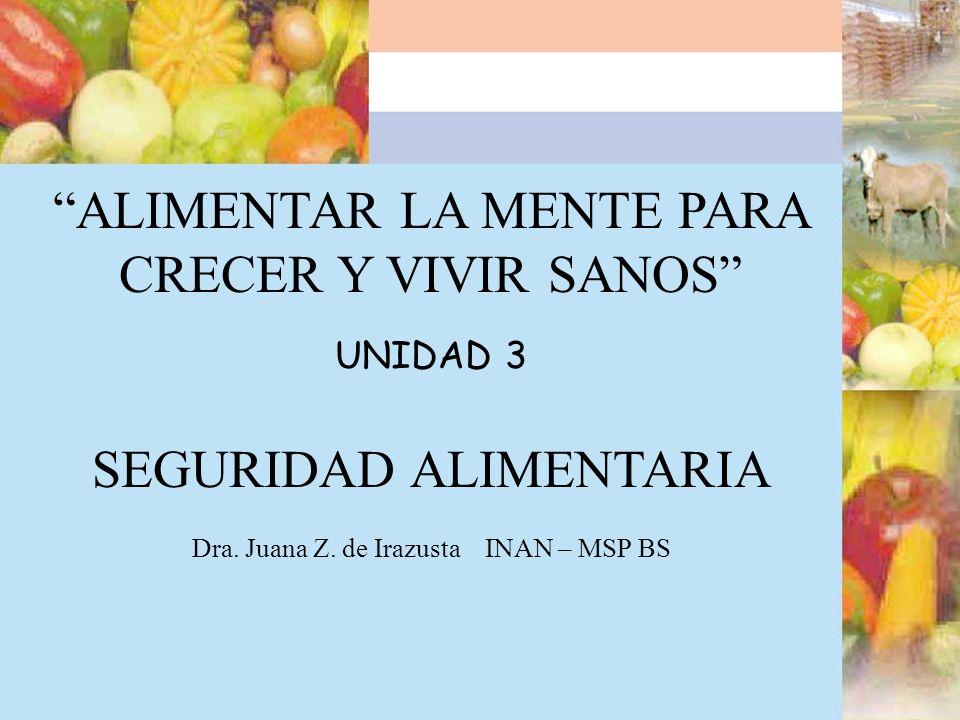 ALIMENTAR LA MENTE PARA CRECER Y VIVIR SANOS UNIDAD 3 SEGURIDAD ALIMENTARIA Dra. Juana Z. de Irazusta INAN – MSP BS