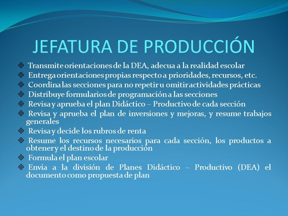 JEFATURA DE PRODUCCIÓN Transmite orientaciones de la DEA, adecua a la realidad escolar Entrega orientaciones propias respecto a prioridades, recursos,
