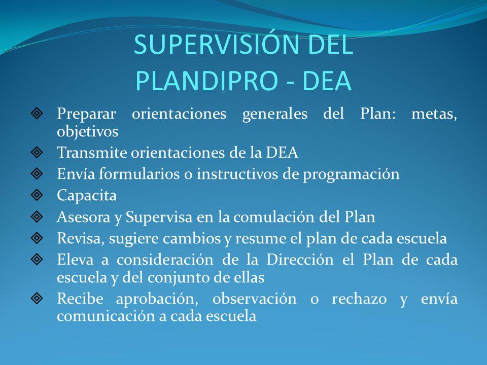 SUPERVISIÓN DEL PLANDIPRO - DEA Preparar orientaciones generales del Plan: metas, objetivos Transmite orientaciones de la DEA Envía formularios o inst