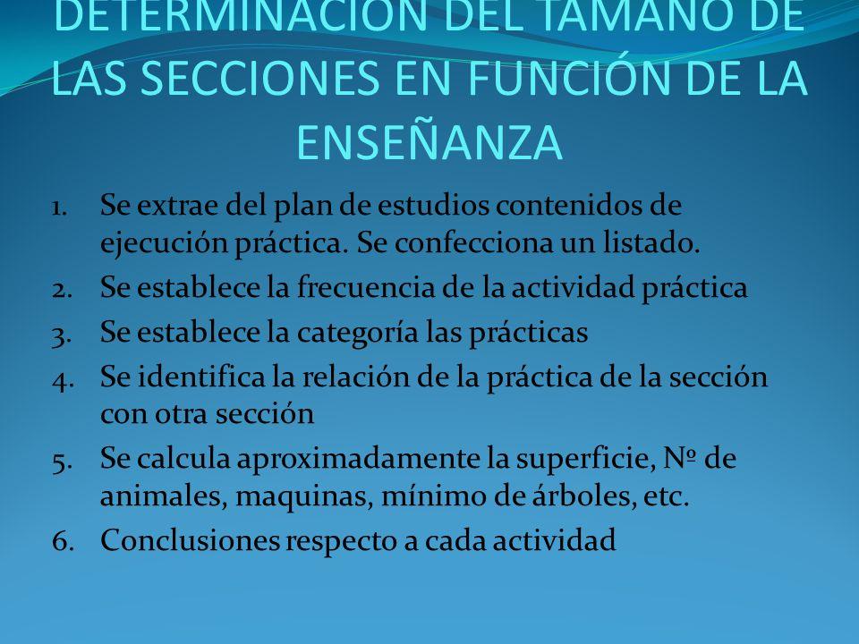 DETERMINACIÓN DEL TAMAÑO DE LAS SECCIONES EN FUNCIÓN DE LA ENSEÑANZA 1. Se extrae del plan de estudios contenidos de ejecución práctica. Se confeccion