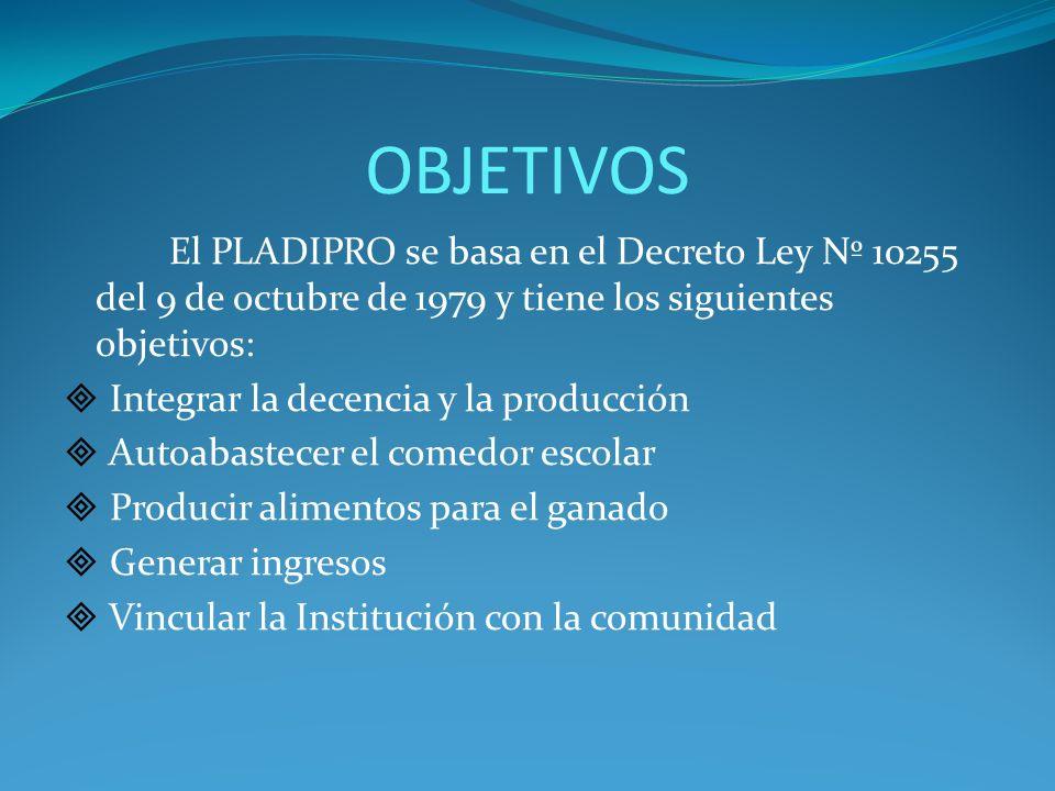 OBJETIVOS El PLADIPRO se basa en el Decreto Ley Nº 10255 del 9 de octubre de 1979 y tiene los siguientes objetivos: Integrar la decencia y la producci