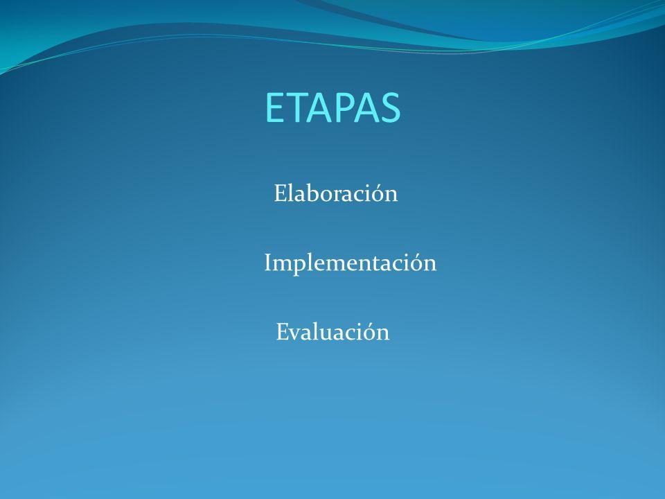 ETAPAS Elaboración Implementación Evaluación