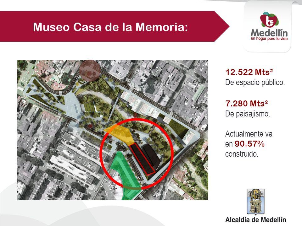 12.522 Mts² De espacio público. Actualmente va en 90.57% construido. 7.280 Mts² De paisajismo. Museo Casa de la Memoria: