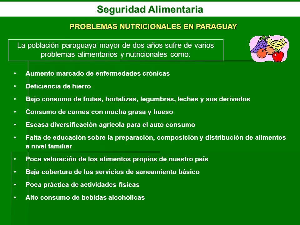 Seguridad Alimentaria PROBLEMAS NUTRICIONALES EN PARAGUAY La población paraguaya mayor de dos años sufre de varios problemas alimentarios y nutriciona