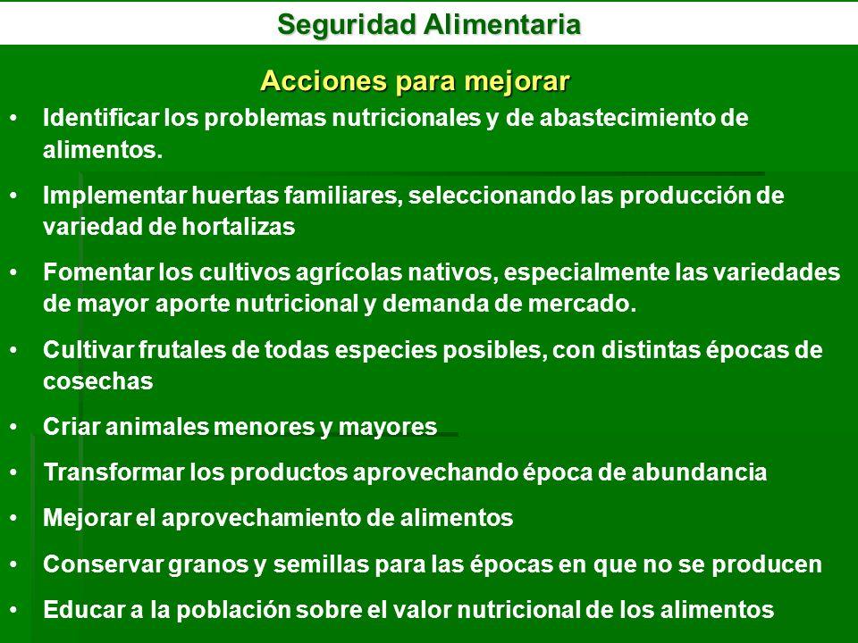 Seguridad Alimentaria Acciones para mejorar Identificar los problemas nutricionales y de abastecimiento de alimentos. Implementar huertas familiares,
