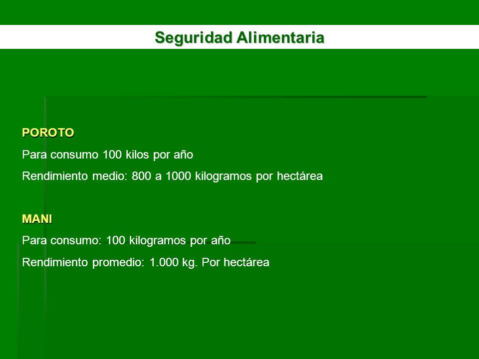 Seguridad Alimentaria POROTO Para consumo 100 kilos por año Rendimiento medio: 800 a 1000 kilogramos por hectáreaMANI Para consumo: 100 kilogramos por
