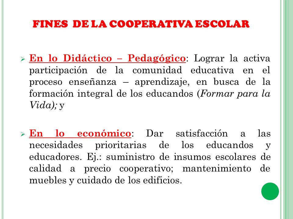 OBJETIVOS PRINCIPALES DE LA COOPERATIVA ESCOLAR a) Educar a los asociados (as) en el conocimiento y en la práctica de los principios y valores universales del cooperativismo, impulsando su participación activa y directa en el proceso enseñanza – aprendizaje.