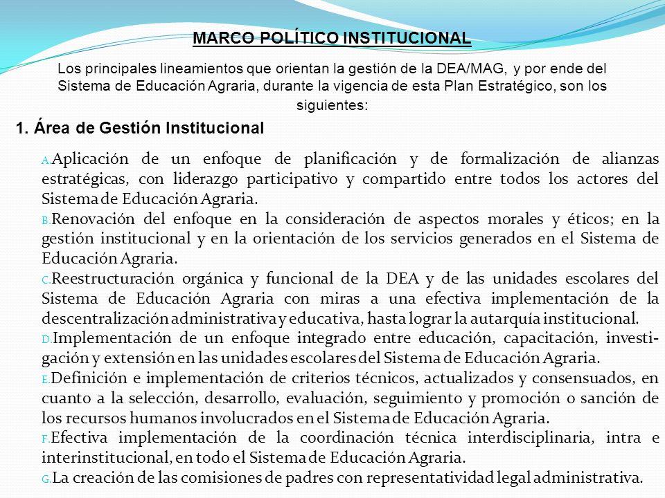 MARCO POLÍTICO INSTITUCIONAL Los principales lineamientos que orientan la gestión de la DEA/MAG, y por ende del Sistema de Educación Agraria, durante la vigencia de esta Plan Estratégico, son los siguientes: 1.