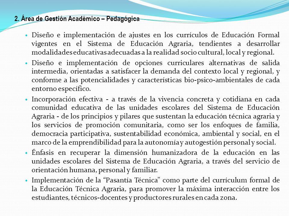 2. Área de Gestión Académico – Pedagógica Diseño e implementación de ajustes en los currículos de Educación Formal vigentes en el Sistema de Educación